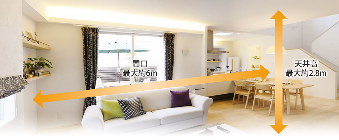 広島 ハウスメーカーの 木造住宅の常識を超える広々空間設計